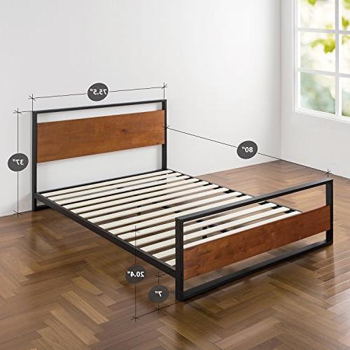 Zinus Suzanne and Wood Bed Headboard / Box Spring Optional Wood Slat Support, King