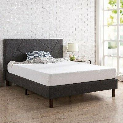 Zinus Judy Upholstered Geometric Paneled Platform Bed with W