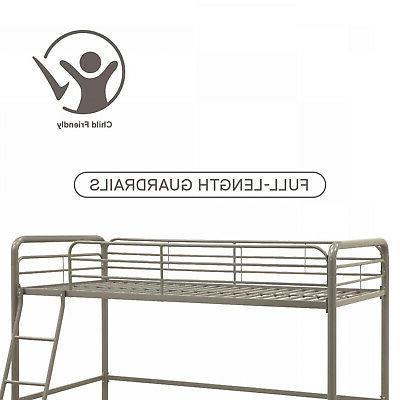 DHP Metal Loft Bed Twin Size Silver