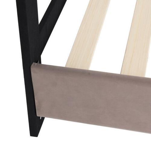 Full Size Velvet Upholstered Platform