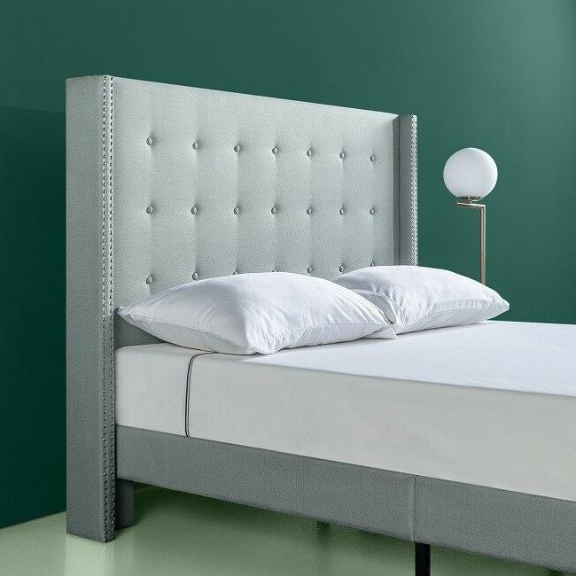 King Bed Upholstered Wood Tufted Beds With Set