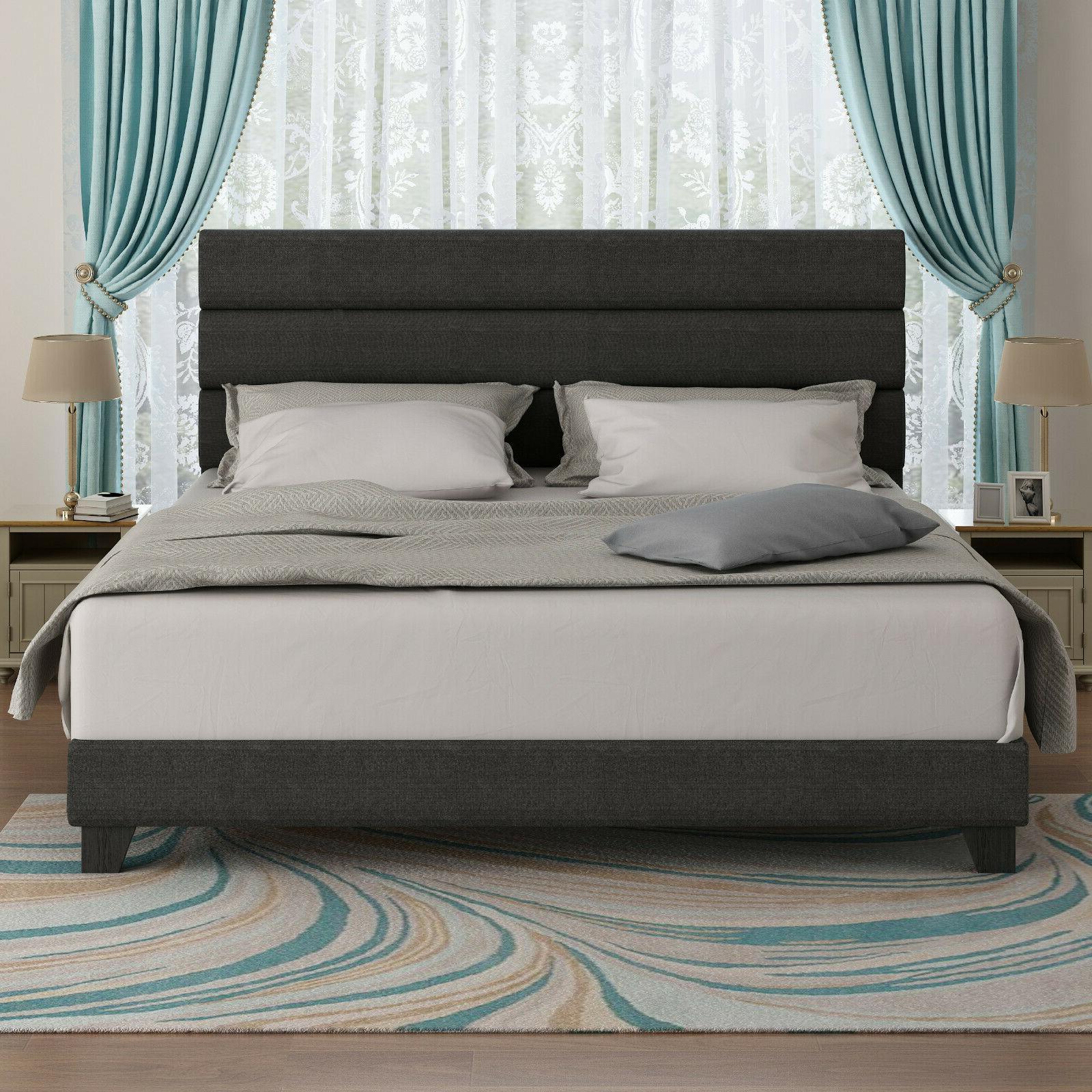King Bed Frame, Upholstered Platform Wooden Slat,