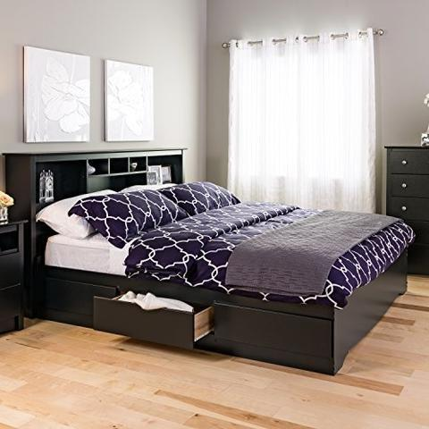 king bed platform black drawer