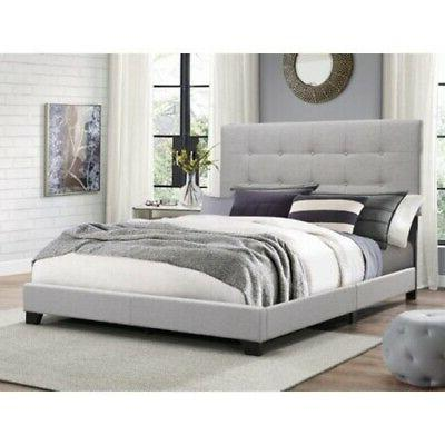 king size bed frame button tufted padded