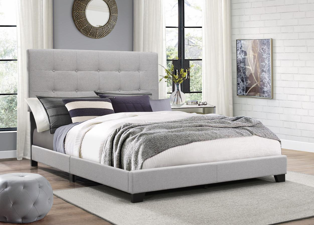 King Size Platform Bed Frame w/Tufted Headboard Gray Upholst