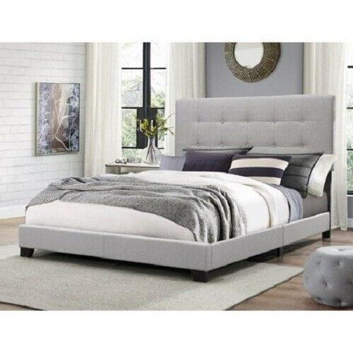 king size platform bed wood frame tufted