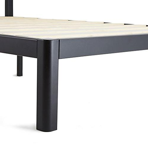 intelliBASE Queen Slat Platform Bed Frame with Headboard