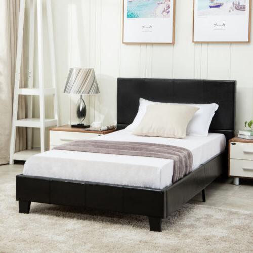 Twin Size Faux Leather Platform Bed Frame & Slats Upholstere
