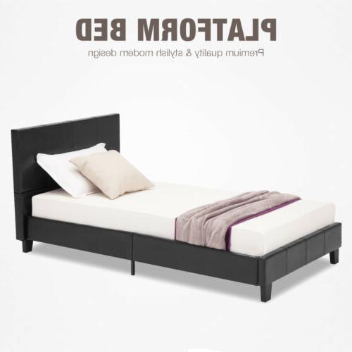 Full Size Platform Faux Leather Bed Frame & Slats Upholstere