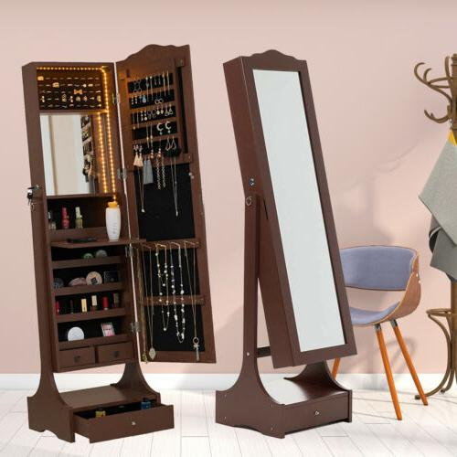 LED Mirrored Jewelry Armoire Stand Mounted