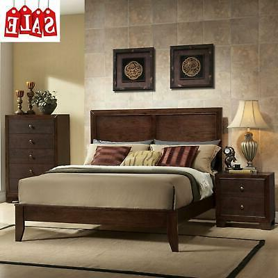 Wooden Bed Frame with Low Profile Footboard Brown