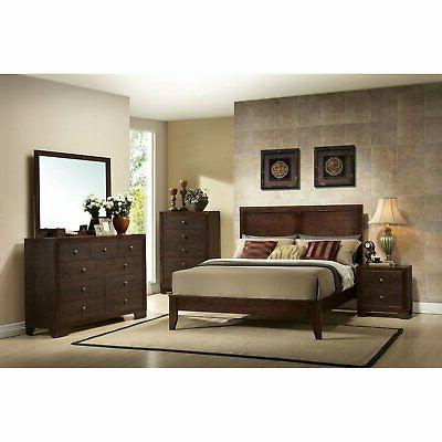 Wooden Size Frame and Low Profile Footboard Sturdy Brown