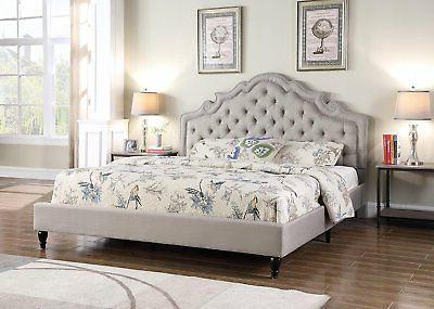LT GREY Victorian Nailed QUEEN Size Platform Bed Frame Slats