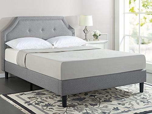Tufted Platform Bed with Wooden Slat