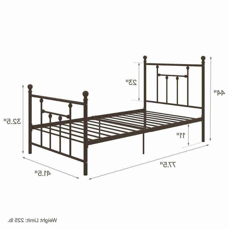 DHP Manila Metal Bed with Victorian and Footboard, Includes