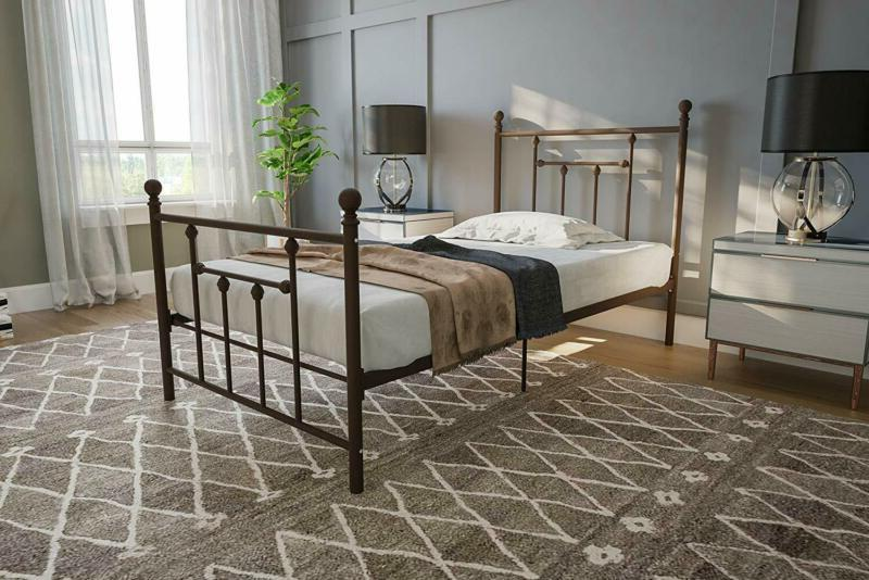 manila metal bed with victorian style headboard