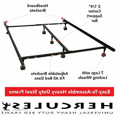 metal bed frame adjustable rails twin full