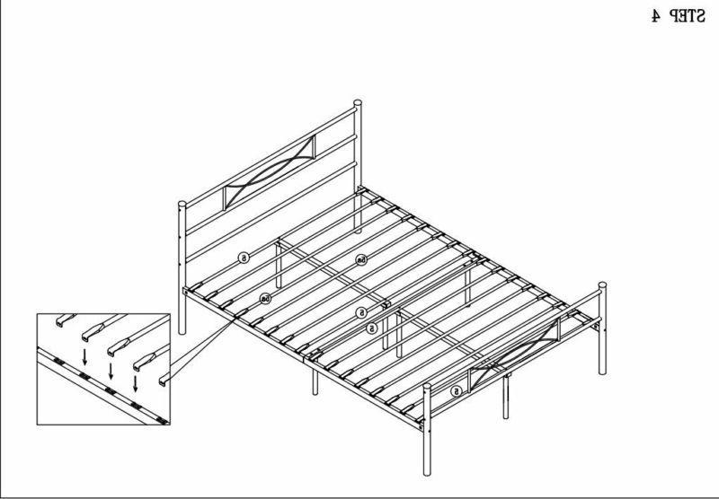 Metal Bed Frame Full Size, Mattress Blac