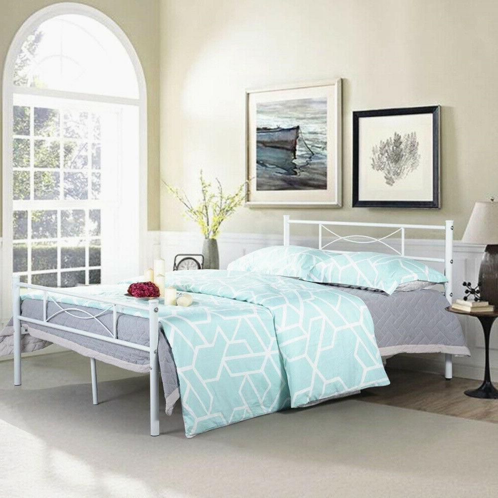 Metal Bed Size Mattress Headboard & White
