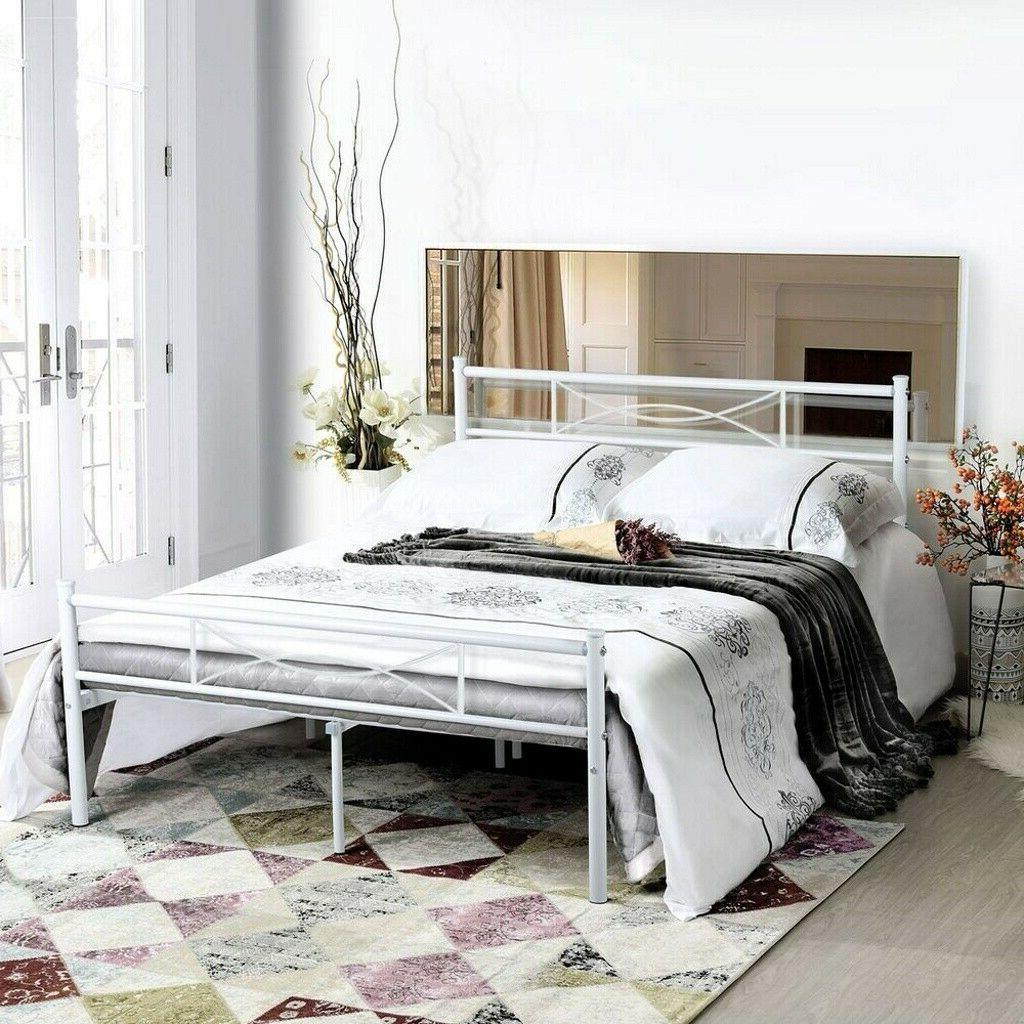 metal bed frame queen size mattress foundation
