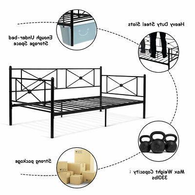 Metal Twin Bed Frame Stable Platform Bed LivingRoom