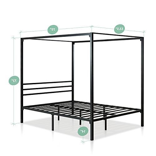 Zinus Metal Framed Canopy Bed Frame Steel / No Box Spring Full