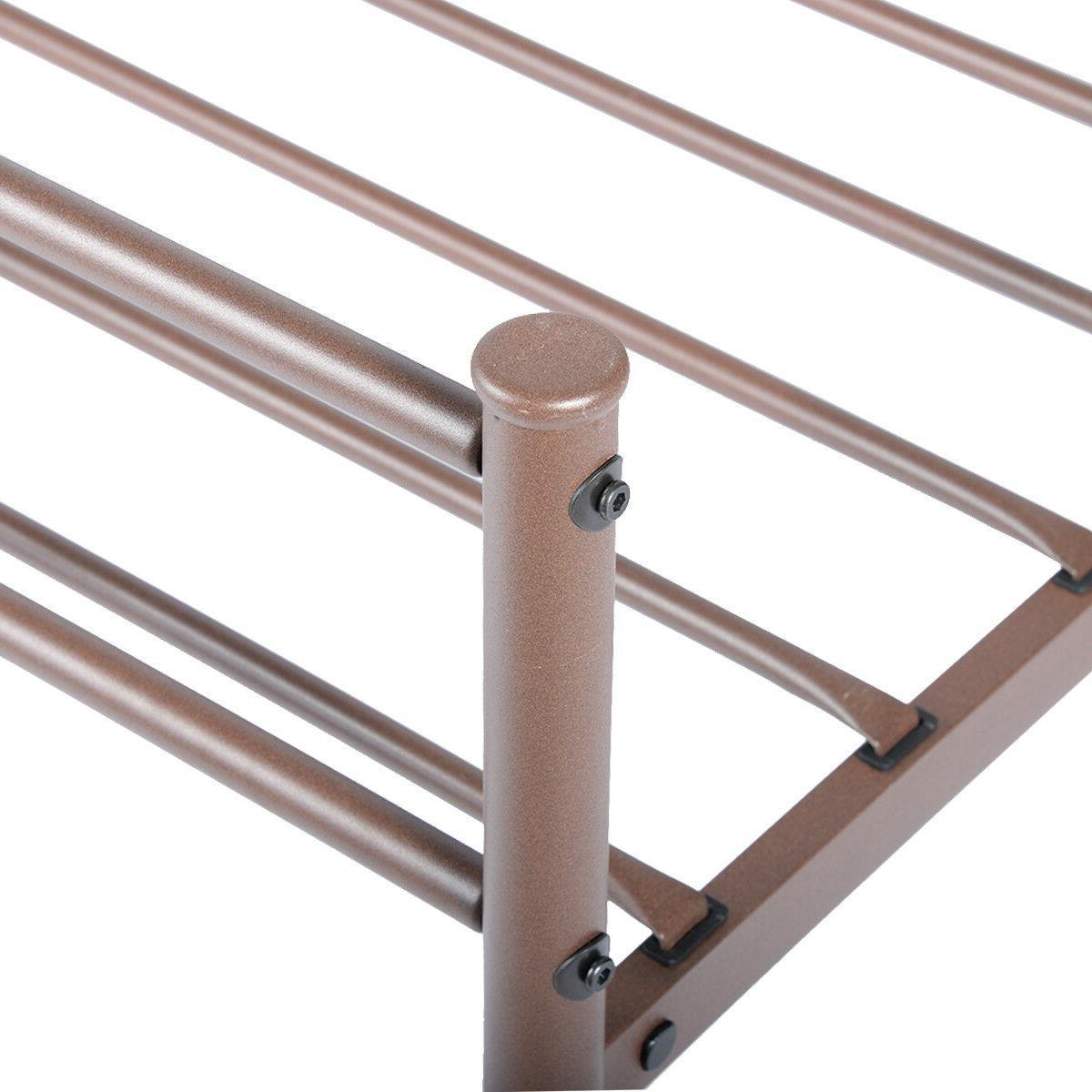 Metal Full Frame Mattress Foundation w/ Headboard and
