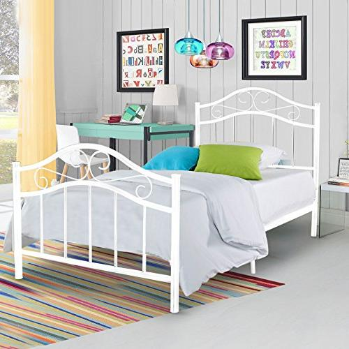 Kingpex Metal Bed Frame Twin / Platform with Headboard Footboard / Slats Bed / / Spring Replacement / Legs / for Bedroom