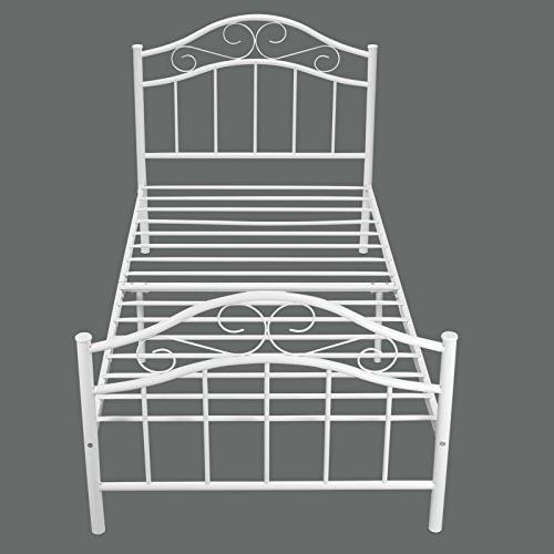 Kingpex Frame Twin / Metal Platform with Footboard Bed Mattress / Box / 6 for Bedroom /