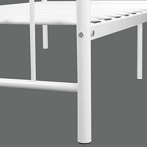 Kingpex Bed Frame Twin Size / Metal Platform Headboard and Footboard / Steel Bed / Box / for Boys Kids Bedroom / White