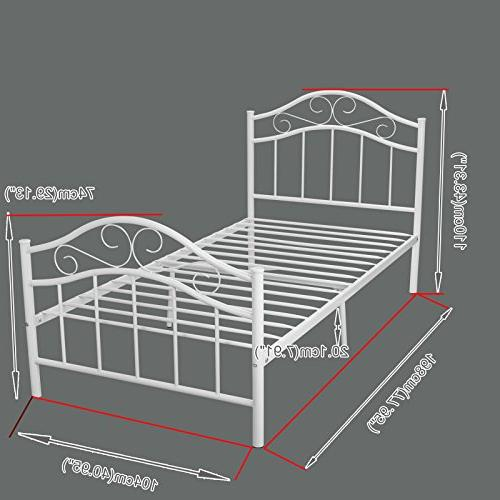 Kingpex Twin Size Platform with Headboard Footboard / Bed / Mattress Foundation / / for Boys Adult Bedroom
