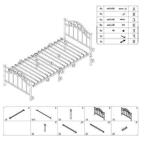 Twin Size Platform Headboard Footboard Slats Bed Foundation / Box for Kids Bedroom / White