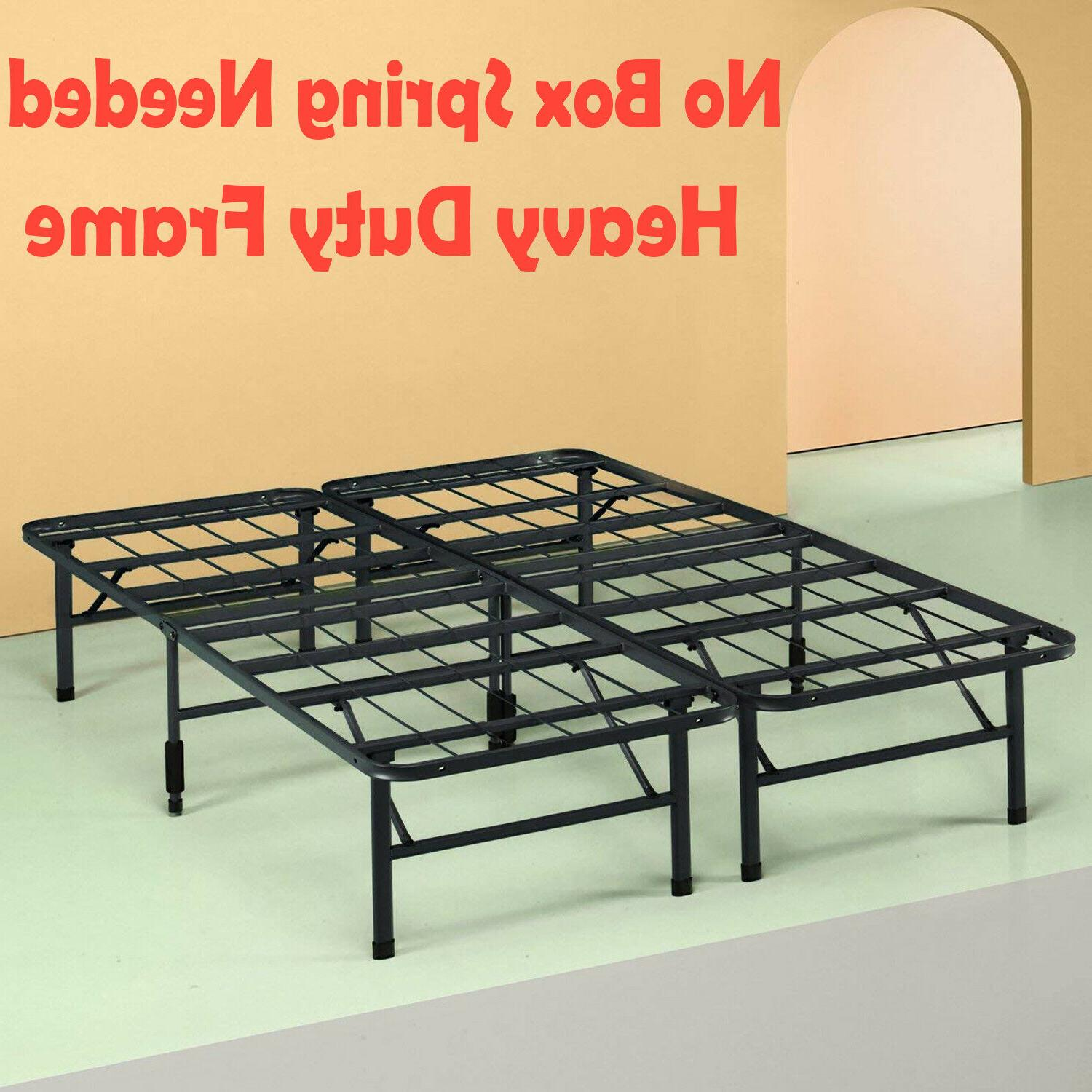 Metal Platform No Box Spring Bed Frame Queen Size 14 Inch He