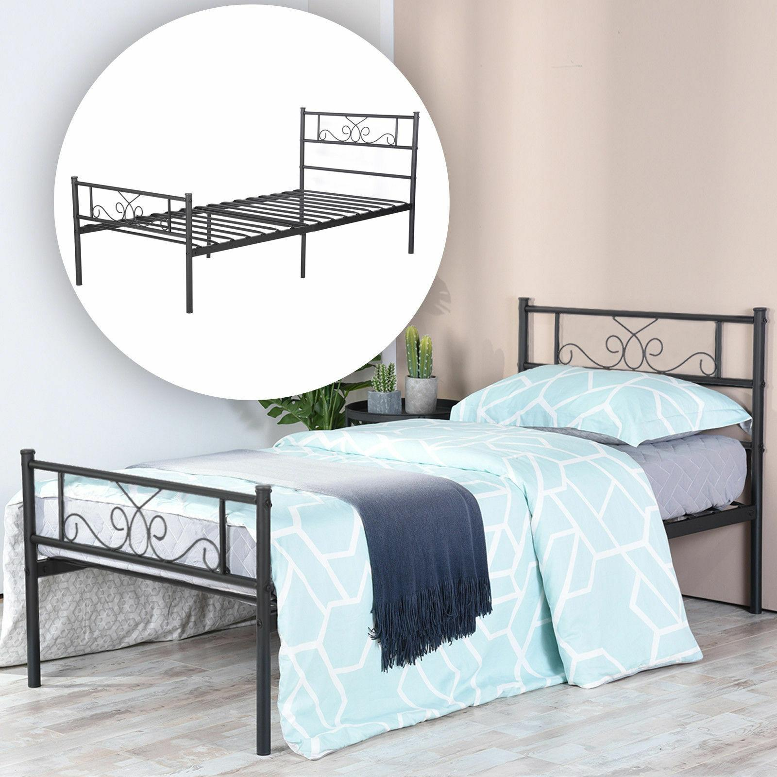 Metal Twin Full Size Bed Frame Platform Bed Storage w/ Headb