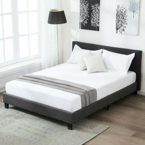 Full Size Metal Bed Frame Linen Headboard Upholstered Platfo