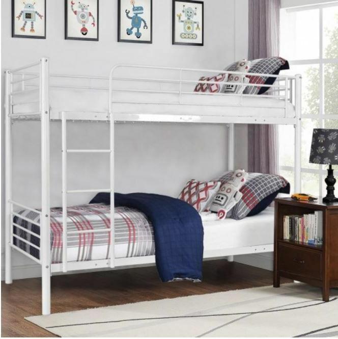 Metal Bunk Beds Frame Ladder Kids teens Bedroom Furniture