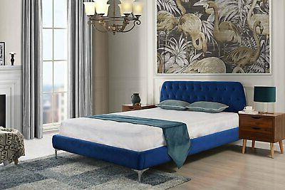 mid century modern elegant velvet bed frame
