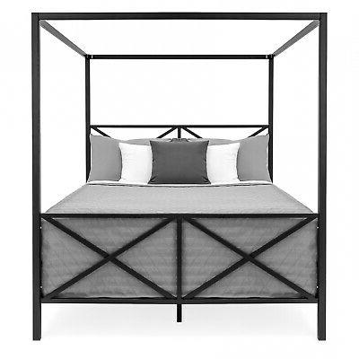 Modern 4 Sized Metal Canopy Bed With Black