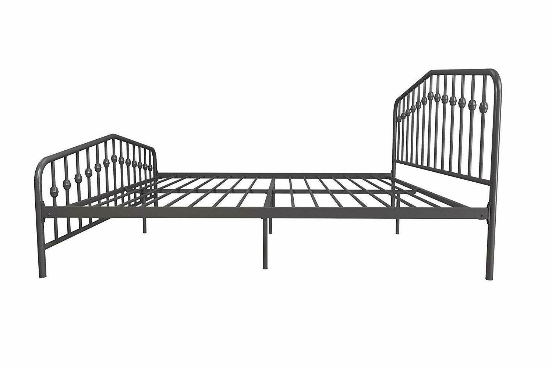 Modern Metal King Platform Bed Gray