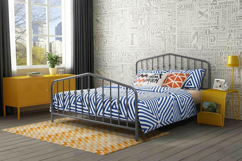 Modern Metal King Size Platform Panel Bed Frame