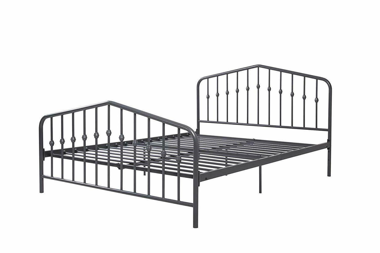 Modern Metal King Size Platform Bed Gray