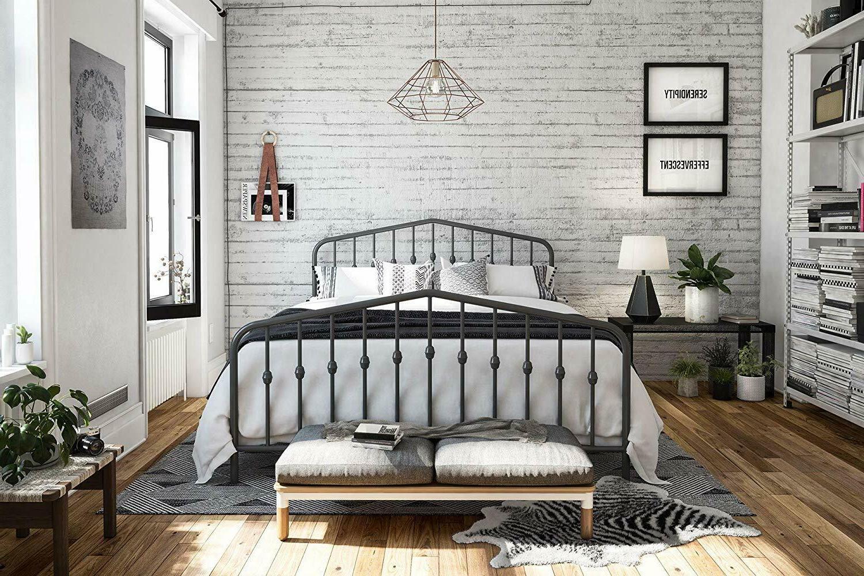 Modern Metal Full King Panel Bed Gray