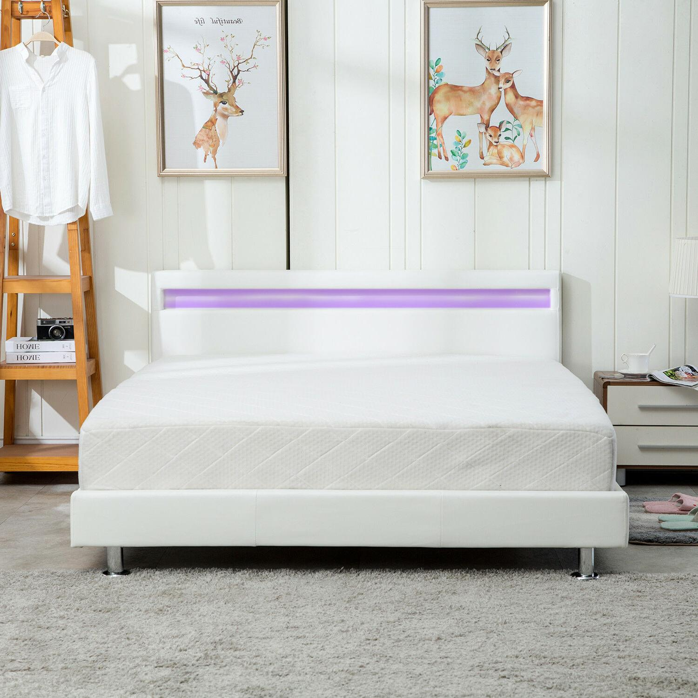 Modern Platform Leather Bed Headboard Light White