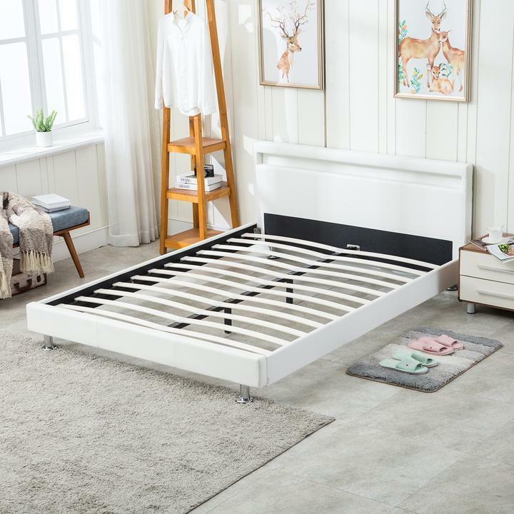 Modern Leather Bed Slats Headboard White