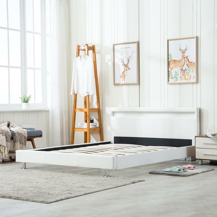 Modern Leather Bed Headboard White