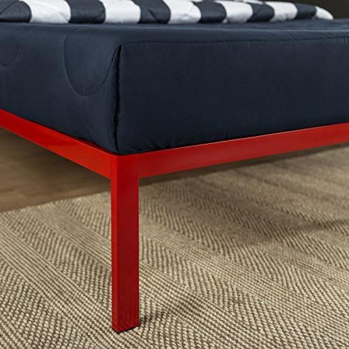 Zinus Inch Platform 1500 Bed Foundation / Boxspring needed Wooden Support Design Award Winner, Red,