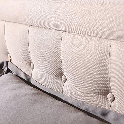 Classic DeCoro Upholstered Bed Headboard and Frame with Wood   Linen,