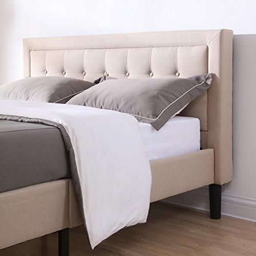 Classic Brands Mornington Upholstered Platform Headboard Metal with Wood |