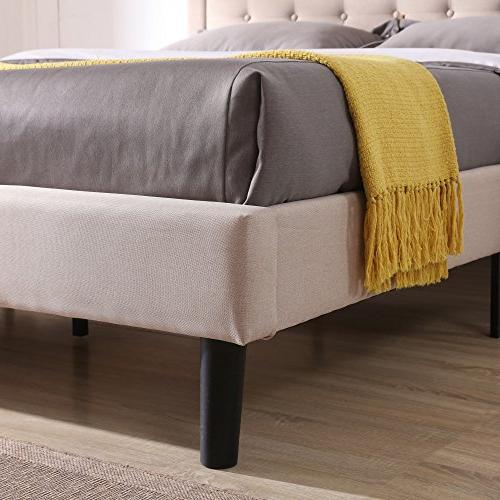 Classic Upholstered Platform Bed Headboard and with Wood Slat  
