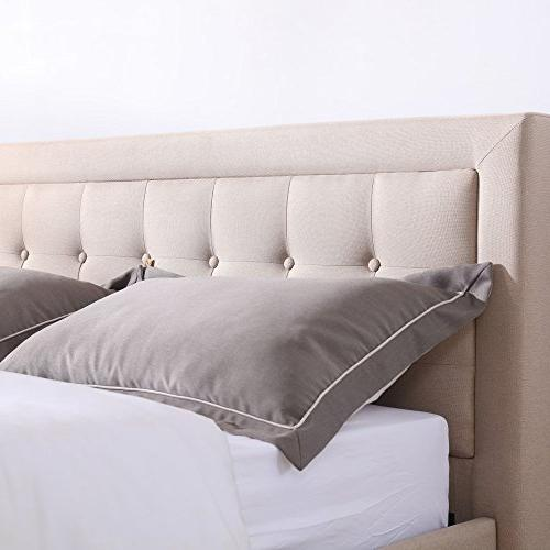 Classic Upholstered Bed Headboard Metal Frame | King
